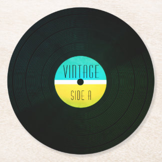 Musical record plate vinyl vintage style round paper coaster
