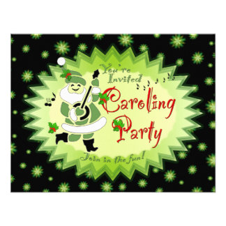 Musical Santa Elf Christmas Caroling Party Invitat Custom Invite