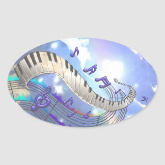 Musical Sky Piano Keys Oval Sticker