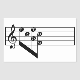 Musical Staff Treble Clef To From Notes Gift Tag Rectangular Sticker