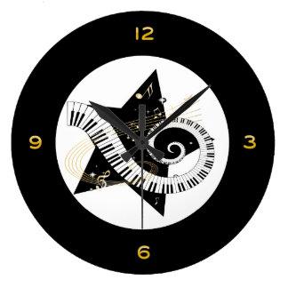 Musical Star Golden Notes Large Clock