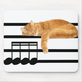 Musical tabby kitty cat mouse pad