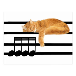 Musical tabby kitty cat postcard