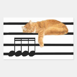 Musical tabby kitty cat rectangular sticker