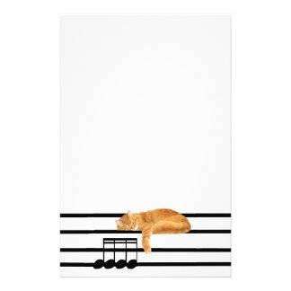 Musical tabby kitty cat personalized stationery