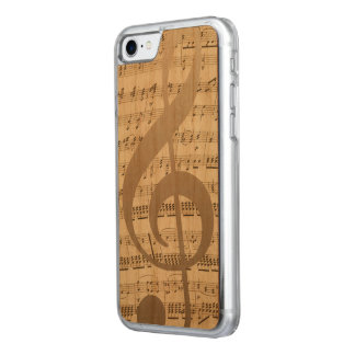 Musical Treble Clef Music Notes Background Carved iPhone 7 Case