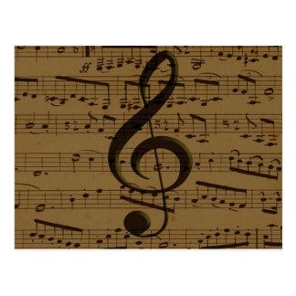 Musical Treble Clef sheet music Postcard