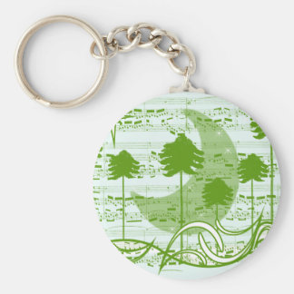 Musical Trees Blue Basic Round Button Key Ring