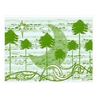 Musical Trees Blue Postcard
