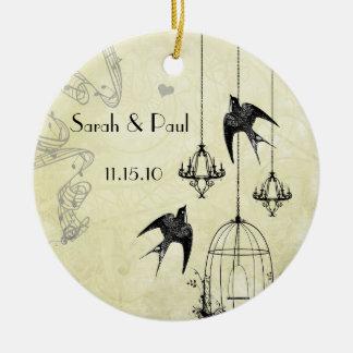 Musical Vintage Birds Black & Gray 3 Chandeliers Ceramic Ornament