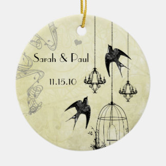 Musical Vintage Birds Black & Gray 3 Chandeliers Christmas Ornaments