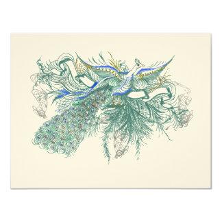 Musical Vintage Peacock Bird Wedding Wishing Well 11 Cm X 14 Cm Invitation Card