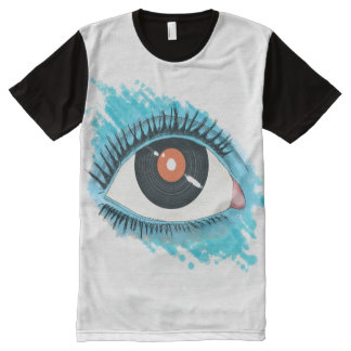 Musical vision: eye illustration with vinyl record All-Over print T-Shirt