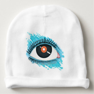 Musical vision: eye illustration with vinyl record baby beanie