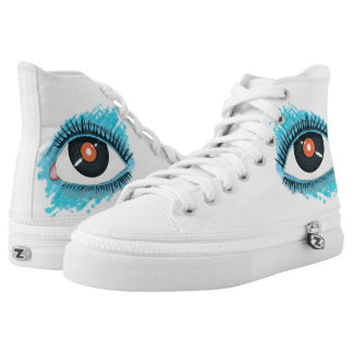 Musical vision: eye illustration with vinyl record printed shoes