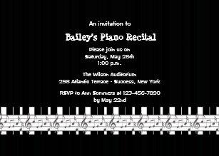 Musically Inclined Piano Recital Invitation