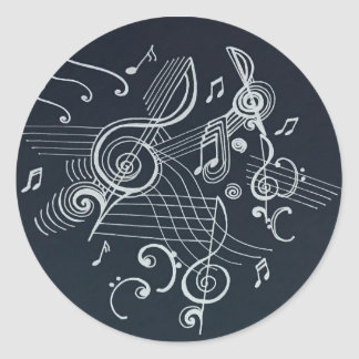 """Musically Inspired"" Black and White Design!! Classic Round Sticker"