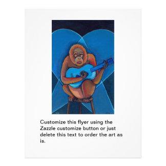 Musician art fun blues guitarist orangutan monkey flyer design