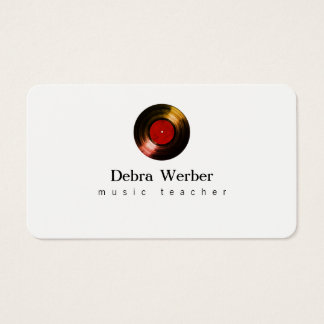 musician business card with a vinyl record