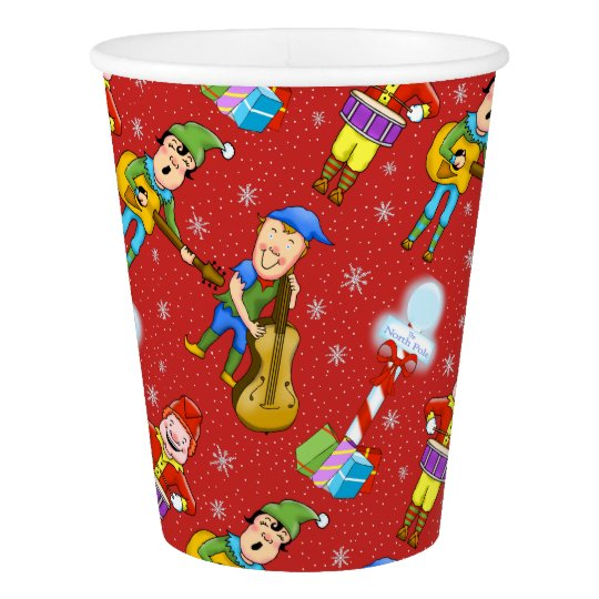 Musician Christmas Elves Paper Cup