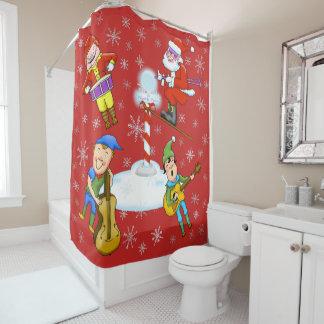 Musician Christmas Elves & Santa Shower Curtain