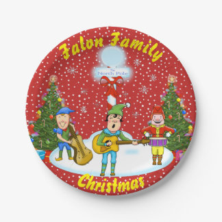 Musician Elf Christmas Band Paper Plates