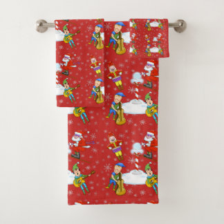 Musician Elves Christmas Bathroom Towel Set