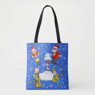 Musician Elves with Santa Christmas Tote Bag