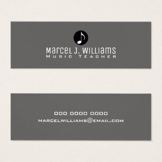 musician gray business card with music note