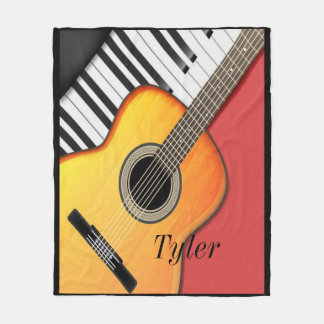 Musician, Guitar, Keyboard, Custom Fleece Blanket