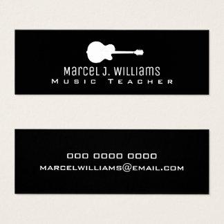 musician . guitarist graphic guitar on black mini business card