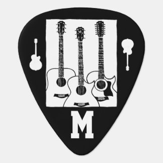 musician initial personalized guitar pick