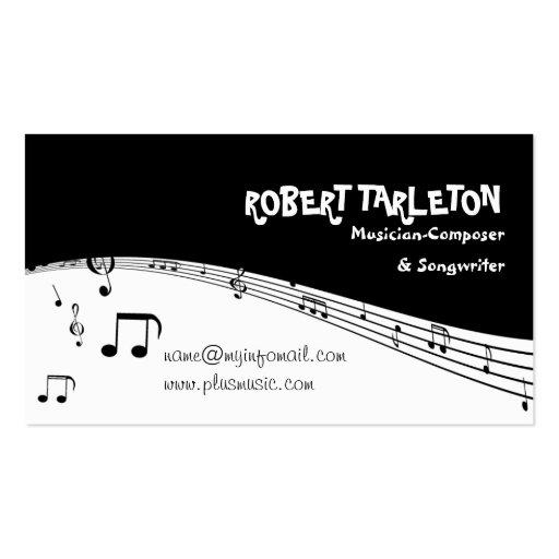 Musician music pentagram black, white business card