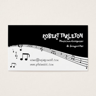 Musician music pentagram black, white business card