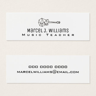 musician white business card with guitar