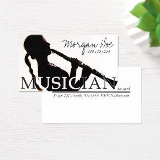 Musician Woman Playing Clarinet Business Card