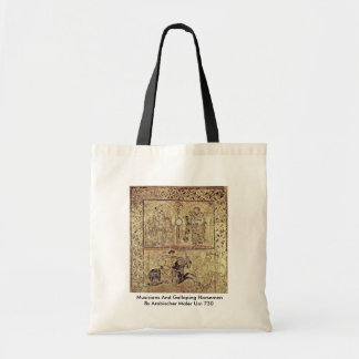 Musicians And Galloping Horsemen Tote Bags