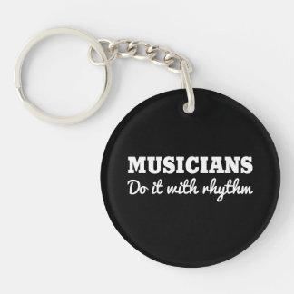 Musicians Do it with Rhythm Single-Sided Round Acrylic Key Ring