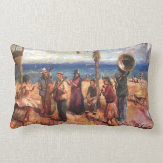 Musicians in Barcelona's beach Lumbar Cushion