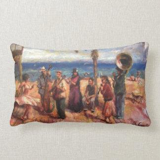 Musicians in Barcelona's beach Lumbar Pillow