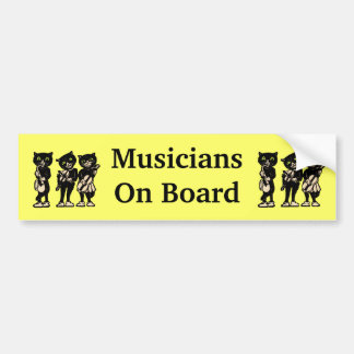 Musicians on Board Vintage Black Cats Bumper Sticker