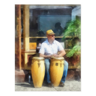 Musicians - Playing Bongo Drums Postcard
