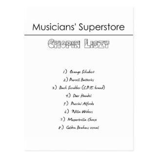Musicians' Superstore Shopping List Postcard