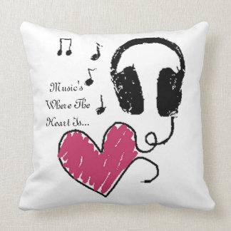 Music's Where The Heart Is Headphones Throw Pillow