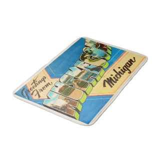 Muskegon Michigan MI Old Vintage Travel Souvenir Bath Mats