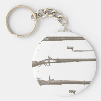 Muskets Old Rifles Vintage Antique Guns Basic Round Button Key Ring