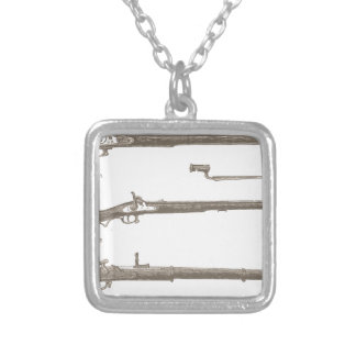 Muskets Old Rifles Vintage Antique Guns Silver Plated Necklace