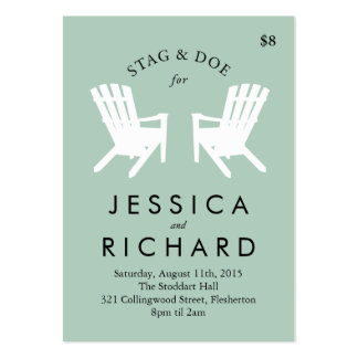 Muskoka Chair Stag and Doe Ticket // Black & White Pack Of Chubby Business Cards