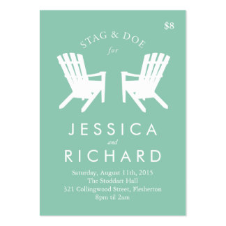 Muskoka Chair Stag and Doe Ticket // Turquoise Pack Of Chubby Business Cards
