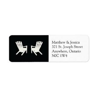 Muskoka Chair Wedding Return Address //  Black Return Address Label
